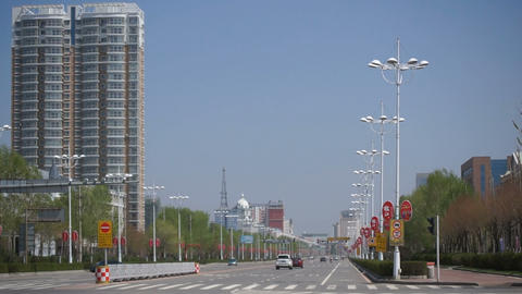 City of Heihe Tongjianglu street traffic Stock Video Footage