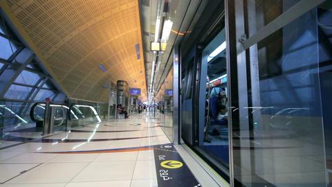 DUBAI - APRIL 25: Dubai Metro With Passengers. Mos Stock Video Footage
