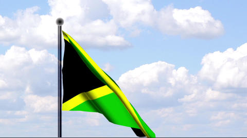 Animated Flag of Jamaica / Jamaika Stock Video Footage