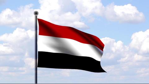 Animated Flag of Yemen / Jemen Stock Video Footage