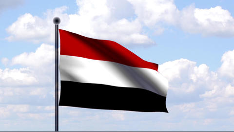 Animated Flag of Yemen / Jemen Stock Video Footage