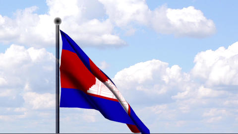 Animated Flag of Cambodia / Kambodscha Stock Video Footage