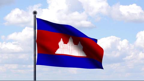 Animated Flag of Cambodia / Kambodscha Stock Video Footage