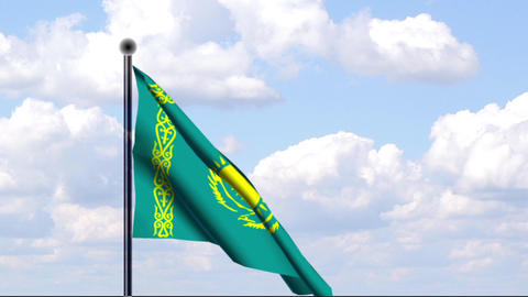 Animated Flag of Kazakhstan / Kasachstan Stock Video Footage