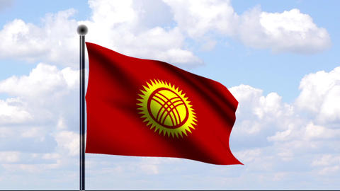 Animated Flag of Kyrgyzstan / Kirgistan Stock Video Footage