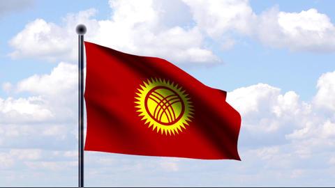 Animated Flag of Kyrgyzstan / Kirgistan Stock Video Footage