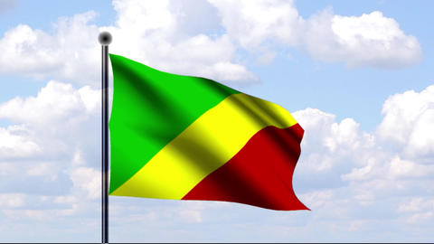 Animated Flag of Republic of Congo / Republik Kong Stock Video Footage