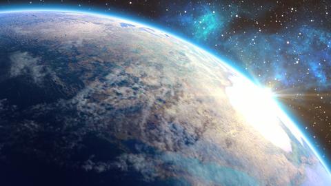 Beautiful Earth with Sun Flare Animation