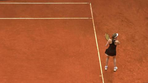 tennis girl black 01 Stock Video Footage