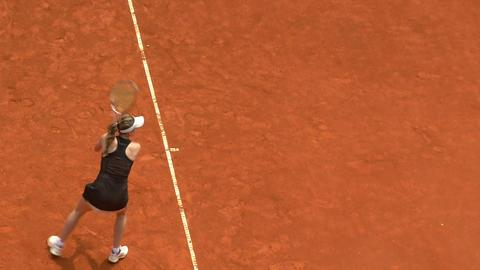 tennis girl black backhand 01 Stock Video Footage
