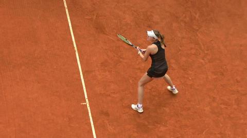 tennis girl black game 01 Stock Video Footage