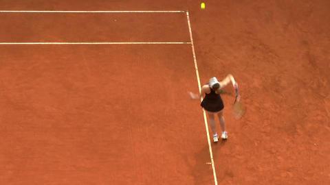 tennis girl black serve 02 Stock Video Footage