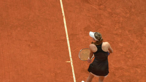 tennis girl black serve 04 Stock Video Footage
