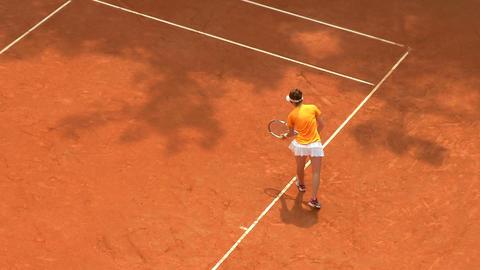 tennis girl orange serve game 01 Stock Video Footage