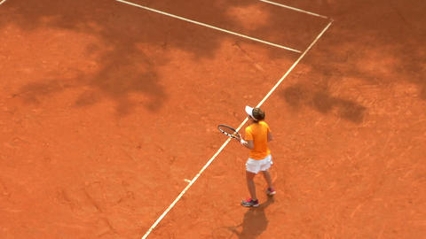 tennis girl orange serve game 01 Footage
