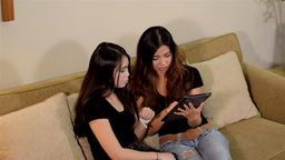 High Angle View of Two Female Friends Playing with Stock Video Footage