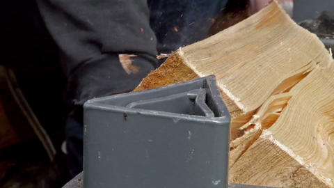 Crushing wood in a machine Stock Video Footage