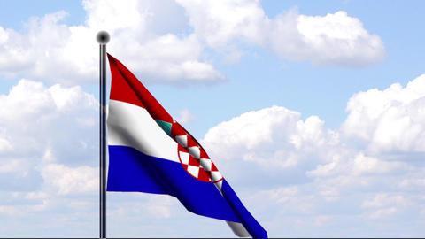 Animated Flag of Croatia / Kroatien Stock Video Footage