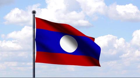 Animated Flag of Laos / Animierte Flagge von Laos Stock Video Footage