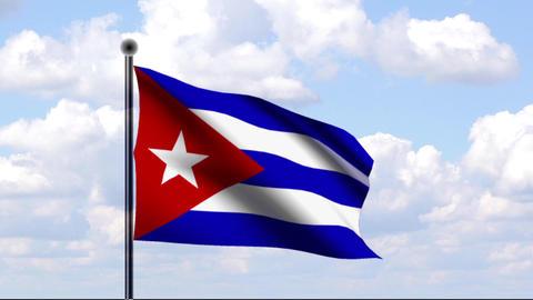 Animated Flag of Cuba / Animierte Flagge von Kuba Stock Video Footage