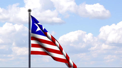 Animated Flag of Liberia Stock Video Footage