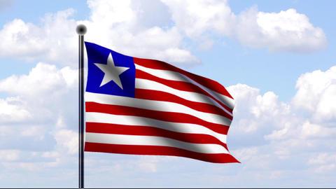 Animated Flag of Liberia Stock Video Footage