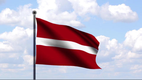 Animated Flag of Latvia / Lettland Stock Video Footage