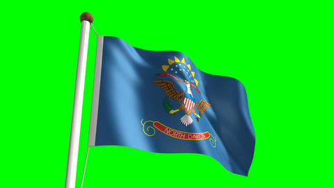 North Dakota flag Stock Video Footage