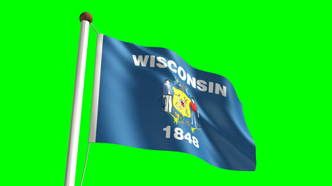 Wisconsin flag Stock Video Footage