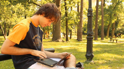 young man with laptop Stock Video Footage