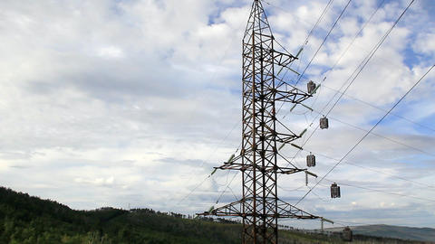 Panorama of High voltage power line Stock Video Footage