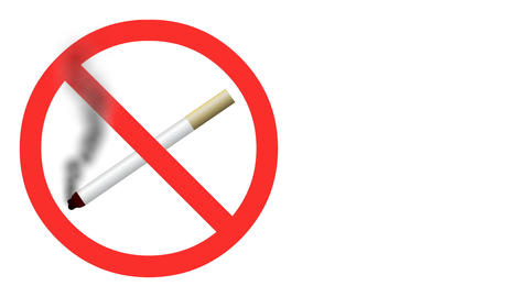 Animated 2D No smoking sign with moving loopable s Stock Video Footage