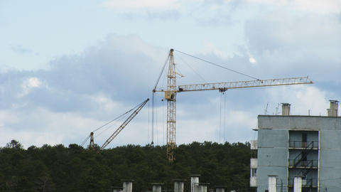 Timelapse of working tower crane Footage