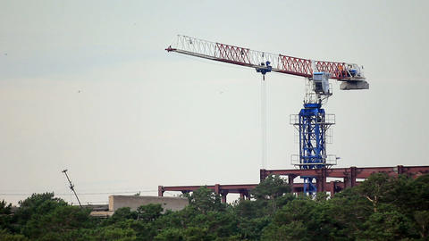 Construction site with working tower crane Stock Video Footage