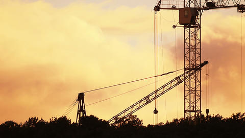 Timelapse of the construction site during sunset Stock Video Footage
