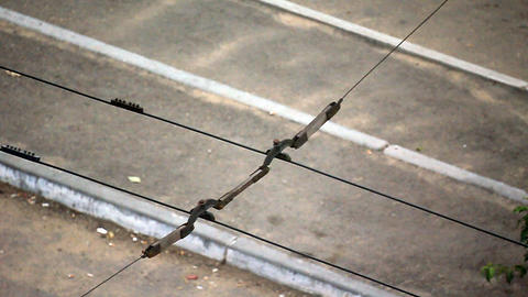 Trolley wires slow motion Stock Video Footage