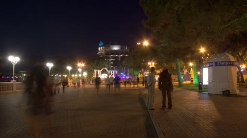 Gelendzhik city walk in the night hyperlapse Footage