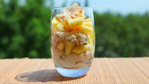 Delicious food, pineapple muesli yogurt Stock Video Footage