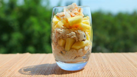 Delicious food, pineapple muesli yogurt Footage