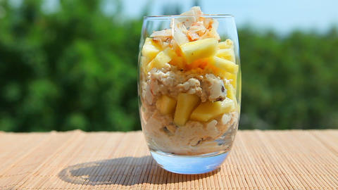 Delicious food, pineapple muesli yogurt Stock Video Footage