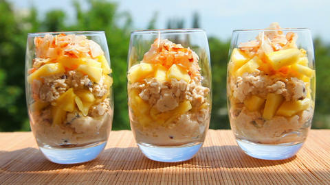 Vegan Meal, Pineapple Muesli Yogurt Coconut stock footage