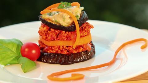 Vegan moussaka - tofu cheese, eggplant Stock Video Footage