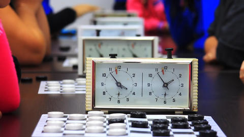 Close-up of checkers game tournament with clock. T Stock Video Footage