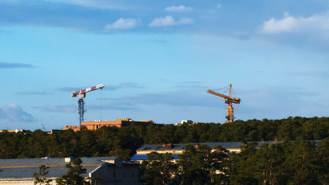 Fast time lapse of tower cranes and construction s Stock Video Footage
