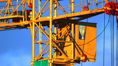 Extreme Close-up Of Working Tower Crane Cabin At S stock footage