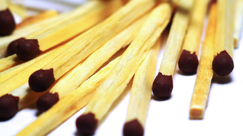 Wooden matches macro dolly shot Stock Video Footage