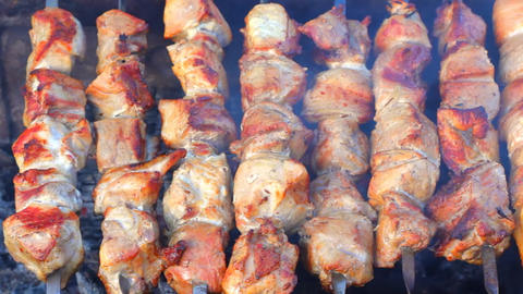 Kebab roasted in the grill Stock Video Footage