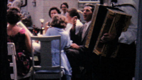 Accordion Player At Summer Picnic 1962 Vintage 8mm Stock Video Footage