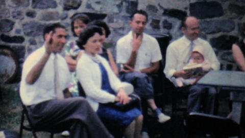 Families Enjoying Summer Picnic 1962 Vintage 8mm Stock Video Footage