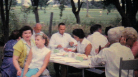 Girl At Family Summer Picnic 1962 Vintage 8mm film Stock Video Footage